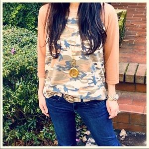 Camouflage Raglan Sleeves Top